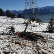 Abspannung des Masts zur provisorischen Stabilisierung