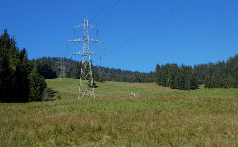 Neubau Strommasten in der Moorlandschaft Glaubenberg